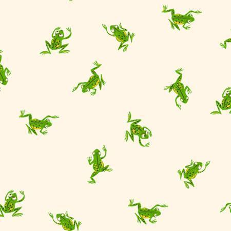 FQ Heather Ross Stoff white frogs